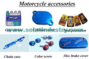 We supply Motorcycle chain case,Cylinder cover,Disc brake cover,Tank protection,Grip sticker,Color screw,etc,many kinds of motorcycle accessories!